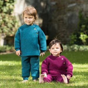 Baby Raglanpullover mit Holzknöpfen Schurwolle kbT - Engel natur