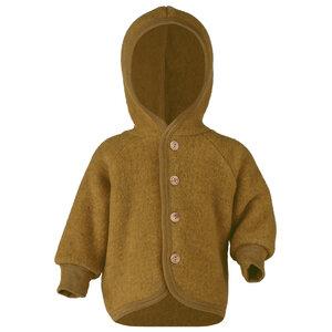 Baby Fleece-Kapuzenjacke mit Holzknöpfen Schurwolle kbT - Engel natur