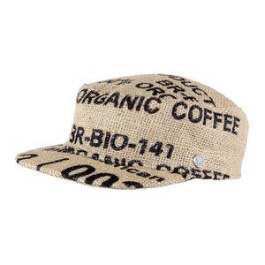 """Schirmmütze """"Café Macchiato"""" aus Kaffeesack -Bourbon - ReHats Berlin"""