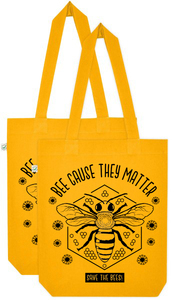 "Schultertasche Biene gelb ""Beecause they matter - save the bees"" - Róka - fair clothing"