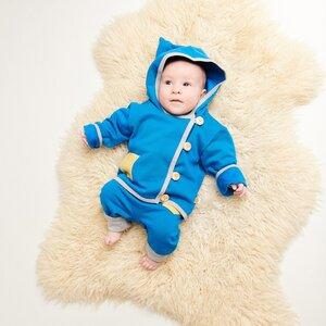 """Baby-Sweat-Jäckchen mit Tasche """"Sweat Blau"""" aus Bio-Baumwolle - Cheeky Apple"""