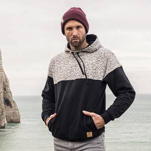 Mountain & Waves Kapuzenpullover Schwarz - bleed