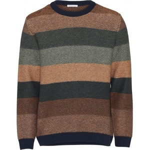 Multi Colored Striped Knit Wool Forest GOTS - KnowledgeCotton Apparel