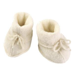Baby Schühchen mit Bändel und Flatlocknähten Bio-Schurwolle - Engel natur