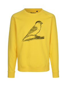 "Fair gehandelter Unisex Bio Sweater ""Spatz"" yellow - ilovemixtapes"