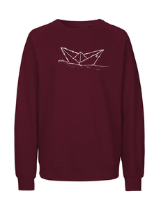"Fair gehandelter Unisex Bio Sweater ""Paperboat""  bordeaux - ilovemixtapes"