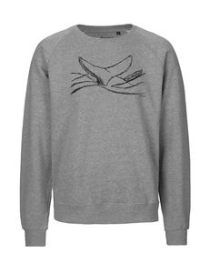 "Fair gehandelter Unisex Bio Sweater ""by the sea, whale"" grey melange - ilovemixtapes"