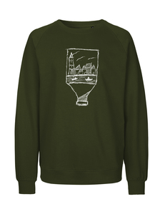 "Fair gehandelter Unisex Bio Sweater ""Flaschenpost"" moss green - ilovemixtapes"