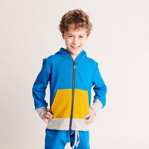 "Kapuzenjacke mit Tasche ""Sweat Blau"" - 95% Bio-Baumwolle, 5% Elasthan - Cheeky Apple"