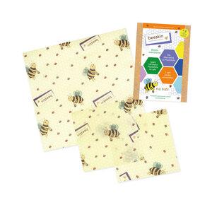 Beeskin Bienenwachstuch 3er Kids Set - S & M  aus Bio-Baumwolle - beeskin