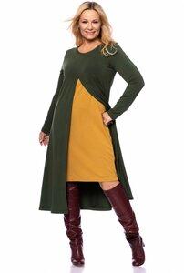 ELENA Kleid  im Lagenlook aus French-Terry Modal in moosgrün mit senf - Ingoria