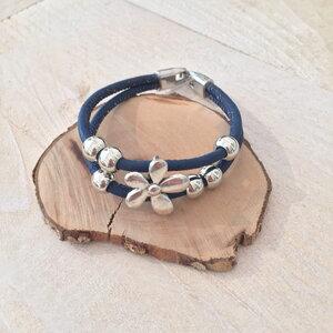 Korkarmband  Silberblüte Kork Blau - Living in Kork