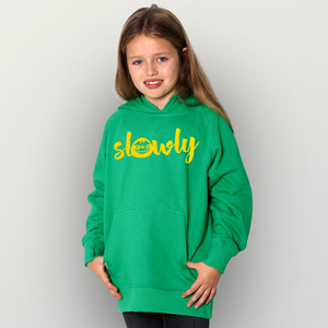 """Slowly"" Kinder-Hoody  - HANDGEDRUCKT"