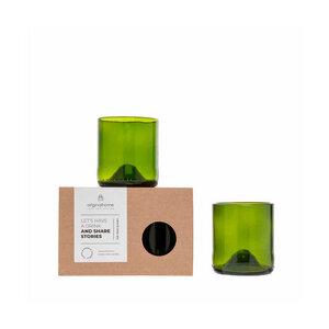 Trinkglas-Set S aus recycelten Weinflaschen - Fair Trade - Originalhome