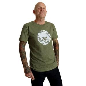 Vogel. Männer T-Shirt, faire Biobaumwolle. Oliv grün. Handsiebdruck - Cherry Bomb