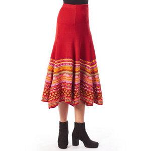 Roter Jacquard-Rock aus Bio-Baumwolle GOTS zertifiziert - Himalaya