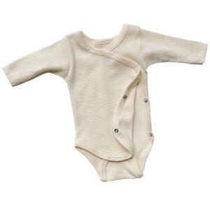 Baby/Frühchen Wickelbody Langarm Bio-Schurwolle/Seide - Engel natur