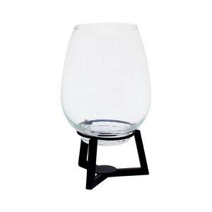 Vase aus Glas mit Metallgestell 23cm H - Mitienda Shop