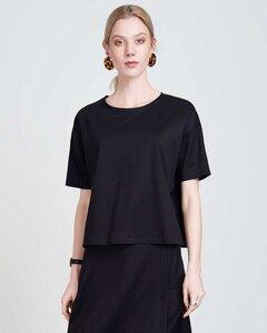 Boxy Shirt CHESTER aus schwarzem Gewebe - JAN N JUNE