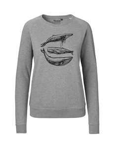 "Fair gehandelter Frauen Bio Sweater ""Three Whales"" grey melange - ilovemixtapes"