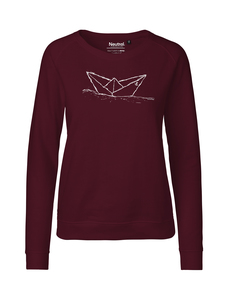 "Fair gehandelter Frauen Bio Sweater ""Paperboat"" bordeaux - ilovemixtapes"