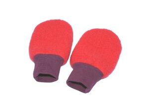 Baby Wollfleece Handschuhe, moosgrün/ rot/ saphirblau - MIRRORMONKEY