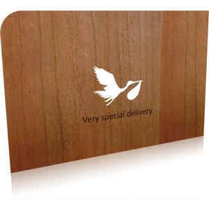 Grußkarte zur Geburt 'Storch' - holzpost