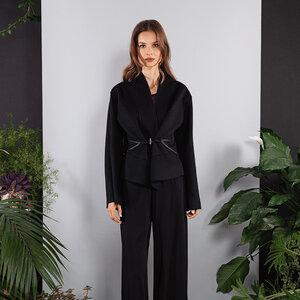 Kurzer Mantel warm doubleface schwarz-blau - SinWeaver alternative fashion