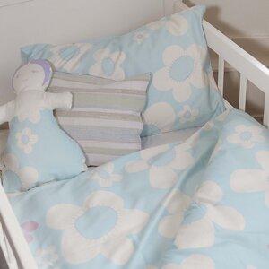 Kinderbettwäsche blume blau für Wiege und Kleinkindbett - ingegerd