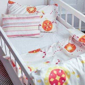 Kinderbettwäsche starflower orange für Wiege und Kleinkinderbett - ingegerd