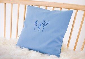 "Kissenbezug ""Sommerblume in Blau"" handbedruckt - luscinia"