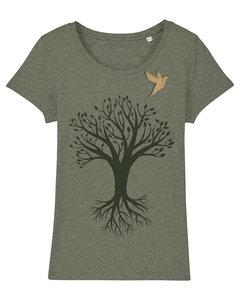 Baum mit Vogel - T-Shirt Damen mit Holzbrosche - What about Tee
