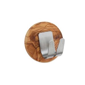 Handtuchhaken CLEVER XL aus Edelstahl und Olivenholz - Olivenholz erleben