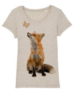 Fuchs mit Schmetterling - T-Shirt Damen mit Holzbrosche - What about Tee