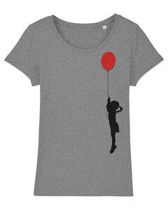 Mädchen mit Luftballon - T-Shirt Damen mit Holzbrosche - What about Tee