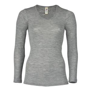 Damen Unterhemd Langarm Bio-Schurwolle/Seide - Engel natur