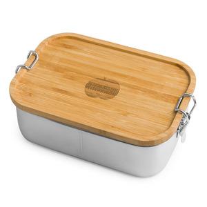 Edelstahl Lunchbox Woody mit Bambusdeckel - Brotzeit