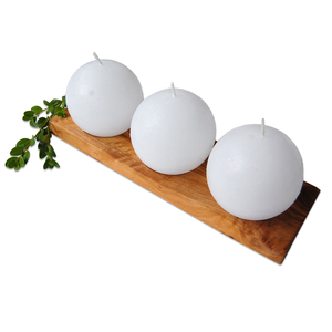 Kerzenständer aus Olivenholz ROTOLO inkl. 3 weiße Kugelkerzen - Olivenholz erleben