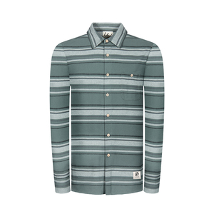 Striped Flannel Shirt Green - bleed