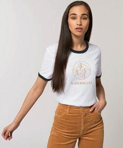 Damen Bicolor T-Shirt mit Motiv / Wanderlust - Kultgut