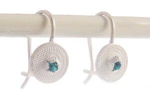 Ohrringe kleine Spirale blau Silber - Filigrana Schmuck