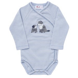 Baby LA Wickelbody hellblau geringelt Bio - People Wear Organic