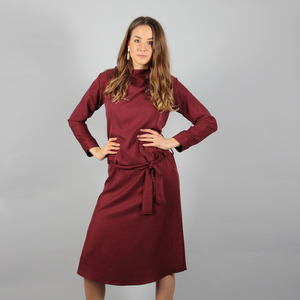 Langärmeliges Tencel Kleid Nyla in Schwarz, Gelb oder Bordeaux - ManduTrap