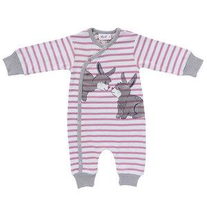 Baby Wickeloverall dunkelblau u. pink geringelt  Bio - People Wear Organic