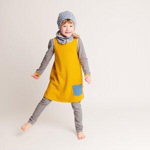 """Kleidchen mit Tasche """"Ripp Senf/Dotties Blau"""" 100% Bio-Baumwolle - Cheeky Apple"""