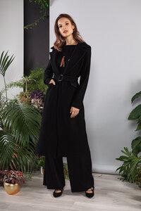 Mantel schwarz wadenlang tailliert mit Gürtel - SinWeaver alternative fashion