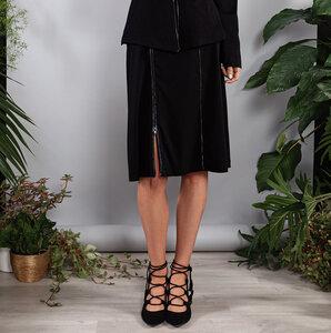 Kurzer Rock schwarz Beistiftrock mit Streifen und Schlitz regulierbar - SinWeaver alternative fashion