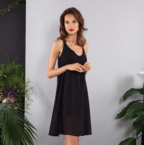 Kurzes Kleid schwarz schulterfrei Tencel Lyocel mit Gummi-Trägern - SinWeaver alternative fashion