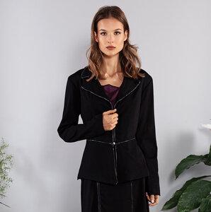 Blazer schwarz tailliert Viskose glänzende Paspeln und Reißverschluß - SinWeaver alternative fashion