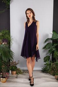 Abendkleid, kurzes Seidenkleid zweilagig lila-aubergine Tencel-Lyocel - SinWeaver alternative fashion